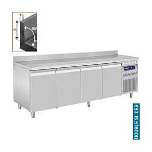 Diamond DT224/R2A 4 Door Refrigerated Counter with Splashback 550 Litres