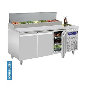Diamond DTS-7/R2 3 Door Refrigerated Pizza Prep Counter 405 Litres