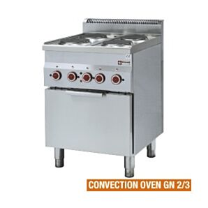 Diamond E60/4PFV6(230/3) Four Ring Electric Range with GN 2/3 Convection Oven