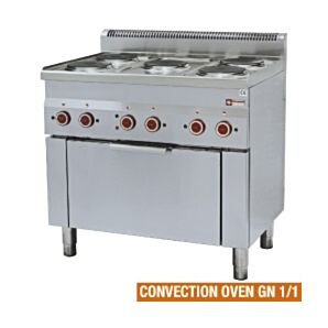 Diamond E60/5PFV9(230/3) Five Ring Electric Range with GN 2/3 Convection Oven